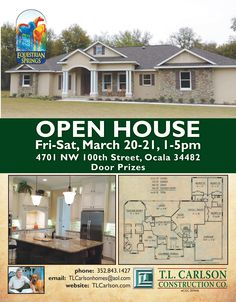 Visit our 4BR+den new custom equestrian home on 3 acres in #Ocala, Florida at our Open House this weekend: Fri+Sat, March 20-21, 1-5 p.m. Realtors welcome! We'll draw four $50 gift cards each day. Come and see for yourself the beauty of #EquestrianSprings. See video tour https://youtu.be/FvsDIj59oEM of this new construction house now for sale.