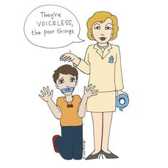 """#BoycottAutismSpeaks Image is a cartoon drawing of a kneeling person wearing a red infinity symbol necklace, hands up as if gesturing for help, their mouth taped over with a piece of blue tape labeled """"A$."""" Standing beside them is a cartoon caricature of Suzanne Wright, holding a roll of blue tape, patting the kneeling autistic person's head, and wearing a blue puzzle piece pin. Her speech bubble says, """"They're VOICELESS, the poor things."""""""