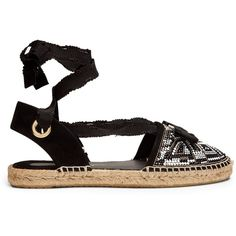 Salvatore Ferragamo Eileen mosaic espadrille (176.880 CLP) ❤ liked on Polyvore featuring shoes, sandals, black multi, black shoes, salvatore ferragamo shoes, black embellished sandals, black bow sandals and wrap sandals
