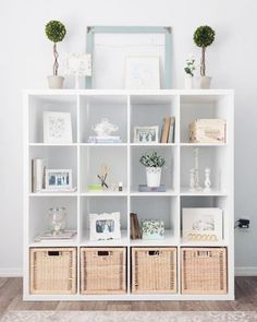 Superb I've been looking for functional ways to decorate my feminine home office since I started working from home. I picked up the IKEA Kallax Shelf Unit to provide more decor storage and orga . Etagere Kallax Ikea, Ikea Kallax Shelf Unit, Ikea Kallax Regal, Ikea Shelves, Kallax Hack, Diy Shelving, Cube Shelves, Shelving Units, Home Office Design