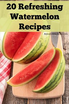Beat the summer heat with cool, delicious watermelon. From cocktails and milkshakes to salads and salsa, these these 20 watermelon recipes are as versatile as they are delicious. Try out one of these refreshing watermelon recipes today. Watermelon Recipes, Fruit Recipes, Summer Recipes, Cooking Recipes, Healthy Recipes, Healthy Foods, Keto Recipes, Fruit Dishes, Fruit Salads