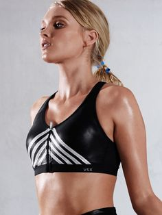 Glitter at the gym? Yes way. This metallic sport bra is Fashion Show Official. | Knockout by Victoria's Secret Front-Close Sport Bra