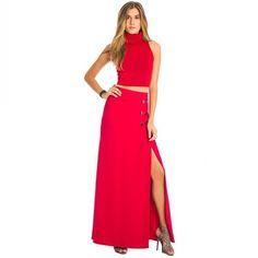 Copie o look!   Saia Longa Metal Lateral  COMPRE AQUI!  http://imaginariodamulher.com.br/look/?go=2eXRmxZ  #comprinhas #modafeminina#modafashion  #tendencia #modaonline #moda #instamoda #lookfashion #blogdemoda #imaginariodamulher