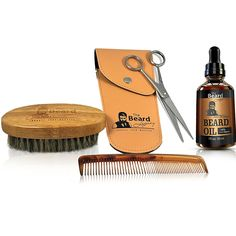 "COMPLETE Beard Grooming Kit W/ Pouch- Stainless Steel Scissors, 5"" Beard/Mustache Comb, 100% Natural Boar Bristle Brush. Includes Top-Rated Organic Beard Oil-Made With ARGAN OIL and JOJOBA OIL. ^^ Discover this special product, click the image : Travel Hair care"