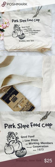 . {FAIR TRADE} Brooklyn canvas tote bag BOUTIQUE • \\The Lion's Den// Natural fiber canvas large tote bag ::: Thick fabric ::: Never worn + with original tags :::: Park Slope Food Co-op member bag! ::: Please ask any + all questions prior to purchase + review photos ::: Photos of actual item for sale :::  home• The Lion's Den Bags Totes