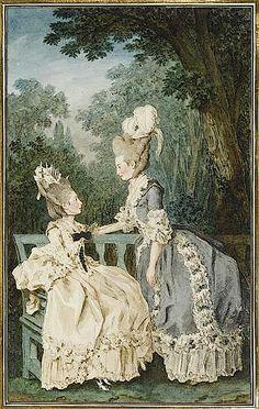 1771 Mesdames les comtesses de Fitz-James et du Nolestin by Louis Carrogis (Musée Condé - Chantilly France)