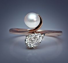 Elegant Pearl and Diamond Bypass Engagement by RomanovRussiacom