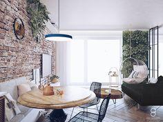 Bubble chair / green wall / brick wall/ livingroom Bubble Chair, Brick Wall, Dining Table, Living Room, Anna, Furniture, Mom, Green, Home Decor