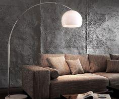 DELIFE Bogenleuchte Big-Deal Lounge Weiss Marmor verstellbar Eco, Stehleuchten 749-749-0