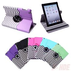 360 Rotating Leather Chevron Case Cover Stand for Apple-iPad Air Mini 1 2 3 4 5 #HDE