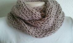 Knit Chunky Cowl Scarf in Beige Unisex Winter by zahraknitting, $24.90