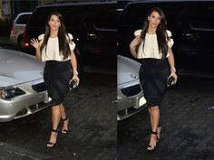 Kim Kardashian - White Cap Sleeved Cropped Top, High-Waisted Pencil Skirt & Black Sandals