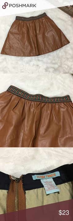 Flying Tomato Brown Faux Leather Skater Skirt Gorgeous flying Tomato 🍅 brown Faux Leather skater skirt size small in excellent gently used condition. Great for all occasions and perfect for fall/winter with leggings and boots!!! Flying Tomato Skirts Circle & Skater