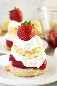 Gluten Free Strawberry Shortcake from What The Fork Food Blog. Tender, buttery & flaky gluten free drop biscuits, fresh sweet strawberries and vanilla whipped cream - so good! |@WhatTheForkBlog | whattheforkfoodblog.com