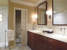 Browse photos and discover the benefits of solid-surface countertops for the bathroom at HGTVRemodels.