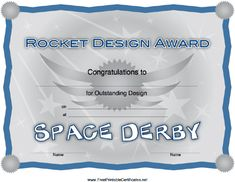 Streaking shooting stars decorate this Space Derby Rocket Design Award Certificate. Free to download and print