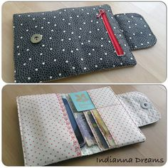 DIY wallet with a phone holder---pretty sure this is way out of my league, but maybe something Becky at Gracey Bags could make!