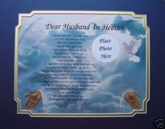 DEAR HUSBAND IN HEAVEN MEMORIAL POEM LOSS OF LOVED ONE | eBay
