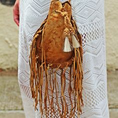 The Saltillo | Wild Bleu Tobacco Pouch Cross Body with Fringe and Horse Hair Tassels