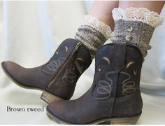 Nordic Lace short cowboy boot lace socks 3 tweed by CatherineColeStudio, $17.00