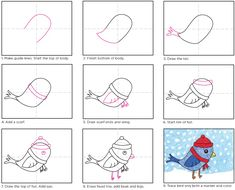 Drawing Lessons For Kids, Art Drawings For Kids, Bird Drawings, Art For Kids, Christmas Art Projects, Winter Art Projects, Projects For Kids, Winter Drawings, Christmas Drawing