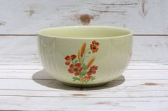Halls Superior Quality Kitchenware Large Mixing Bowl Orange Poppy Wheat Rare Vintage Art Deco Pottery Replacement Bowl Mid Century by WhimsyChicEmporium on Etsy