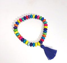Multi colored Howlite bead stretch bracelet by Michele Michele Vintage Bracelet, Stretch Bracelets, Tassel Necklace, Beads, Color, Jewelry, Beading, Ancient Bracelet, Jewlery