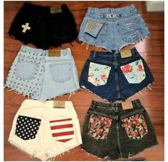 who has two thumbs and is gonna go to Goodwill today to pick out some pants for some new DIY shorts? I absolutely love the black shorts with the white cross! and the flag one! Shorts Bonitos, Cute Shorts, Denim Shorts, Short Shorts, Studded Shorts, Pocket Shorts, Cutoffs, Studded Nails, Black Shorts