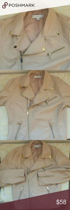 NY & Company blush zip up jacket New York & Company blush zip up jacket with gold accents amd three front pockets size Medium. One of my fav pieces but gained weight and can't zip it :( New York & Company Jackets & Coats