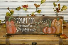 Your place to buy and sell all things handmade Wreath Fall, Autumn Wreaths, Fall Wood Signs, Wooden Signs, Painting Pumpkins, Fall Patterns, Fall Gifts, Praise God