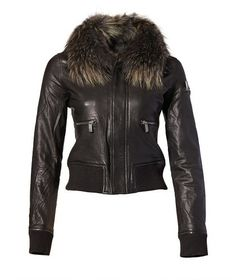 leather bomber jacket with fur collar