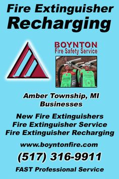 Fire Extinguisher Recharging Amber Township, MI (517) 316-9911 Local Michigan Businesses Discover the Complete Fire Protection Source.  We're Boynton Fire Safety Service.. Call us today!