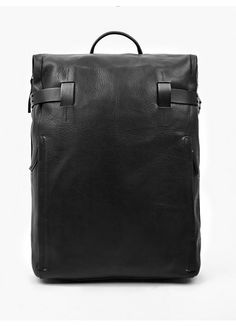 Troubadour Black Leather Backpack