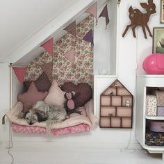Cozy reading nook in girl's room