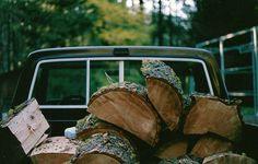 Hauling wood.