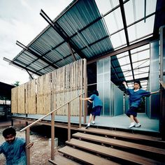 Bangkok-based Jun Sekino designedthese elevated classrooms in northern Thailand in response to a severe earthquake, which destroyed the orginal school