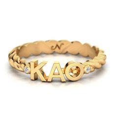 Kappa Alpha Theta Yellow Gold Pavé Twist Letter Ring #14k-yellow-gold-plate #kappa-alpha-theta #rings