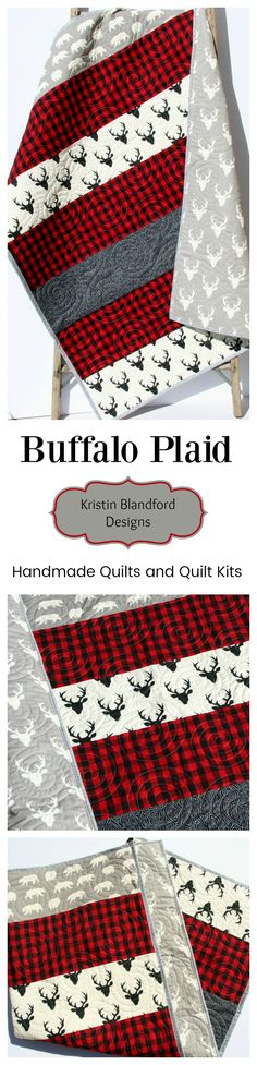 Buffalo Plaid Quilt, Handmade Baby Quilt for Sale, Toddler Quilt, Baby Quilt Kits, Toddler Quilt Kit, Lumberjack plaid, Woodland Nursery, Buffalo Check Blanket, Beginner Quilt Kit, Sewing Project DIY Craft by Kristin Blandford Designs #crib #babybedding #buffalo