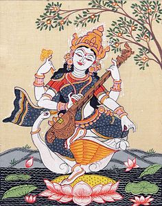 Sitting Saraswati - Folk Art Paintings (Orissa Paata Painting on Tussar Silk - Unframed)