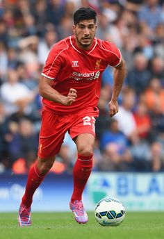Emre Can Photos - Emre Can of Liverpool in action during the pre season friendly match between Preston North End and Liverpool at Deepdale on July 2014 in Preston, Lancashire. - Preston North End v Liverpool - Pre Season Friendly Fc Liverpool, Liverpool Football Club, Soccer M, Emre Can, Preston North End, Football Pictures, Football Players, Premier League, Kicks