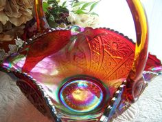 Carnival Glass Basket Red Amberina Hobstar by AntiquesAndArtifacts