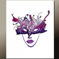 Masquerade - NEW Abstract  Canvas Art Painting 18x24 Contemporary  Art by wostudios, $69.00