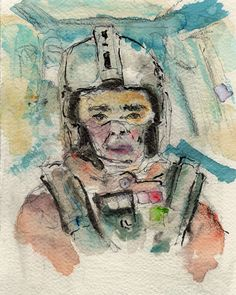 """12/17/15 - The Second Best Pilot.  8"""" x 10"""". Mixed media on watercolor paper. $50."""