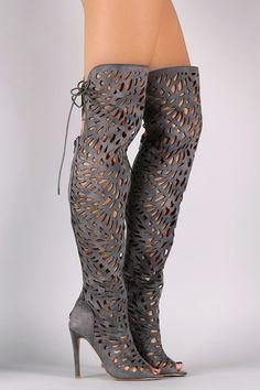 Over The Knee Teardrop Cutout Peep Toe Stiletto Boots
