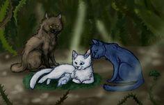 Thistleclaw, Bluefur, Snowfur, and Whitekit