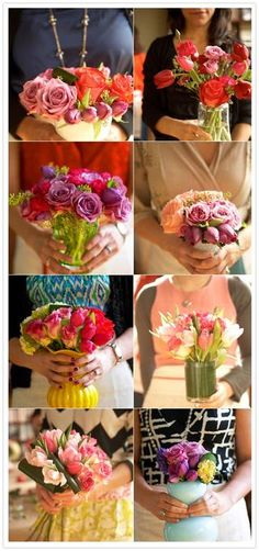 Flower arranging party with girlfriends - everyone takes home their own arrangement.