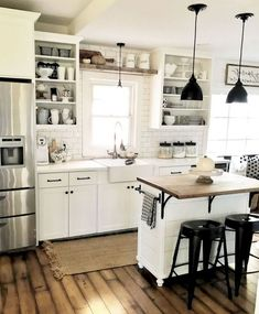 Preeminent Ideas To Decorating A Farmhouse Kitchen . - - ideas Preeminent Ideas To Decorating A Farmhouse Kitchen Farmhouse Kitchen Cabinets, Modern Farmhouse Kitchens, Farmhouse Style Kitchen, Home Decor Kitchen, Diy Kitchen, Home Kitchens, Farmhouse Ideas, Kitchen Rustic, Wood Cabinets