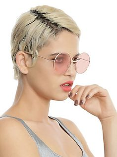 Rose Gold Pink Lens Round Sunglasses,