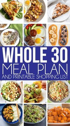 The perfect Whole 30 meal plan for week 1! Tons of great whole 30 recipes including breakfast, lunch, dinner, and even snacks! Whole 30 is definitely a challenge but this meal plan and shopping list make it doable!