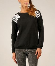 Look what I found on #zulily! Black Floral Sweatshirt by For Her #zulilyfinds